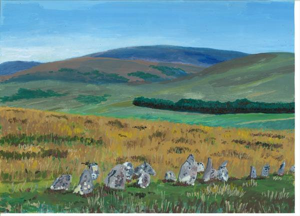 Chagford Common, Dartmoor, Stone Rows by John Van Der Kiste