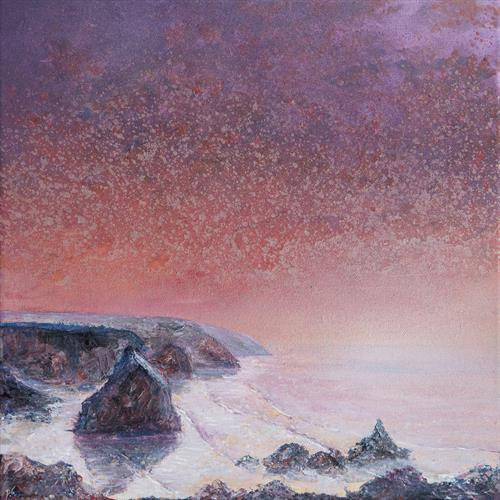 Bedruthan Steps Pink Sky by Diane Griffiths