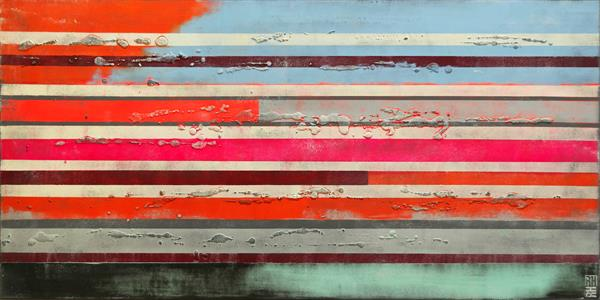 Abstract Painting - Neon Pop Striped Colors - A26 by Ronald Hunter