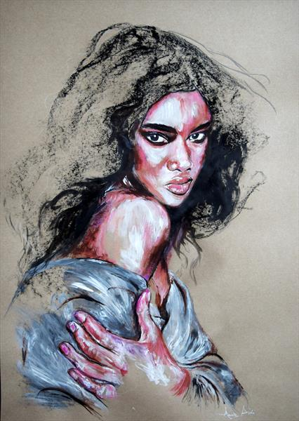 HER GAZE / 60 CM X 42 CM PORTRAIT PAINTING ON PAPER by Anna Sidi-Yacoub