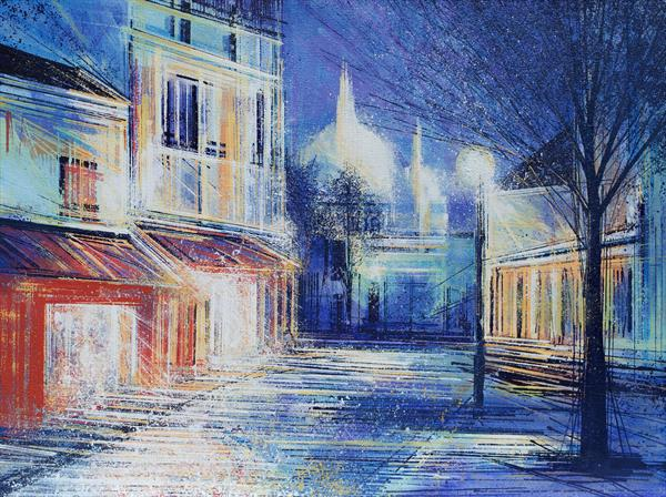 Montmartre, Paris, by Moonlight by Marc Todd