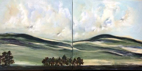 Large Diptych Oil On Canvas Landscape England's Green And Pleasant Land X by Maxine Martin