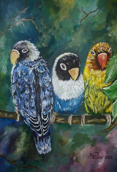 Acrylic_Lovebirds