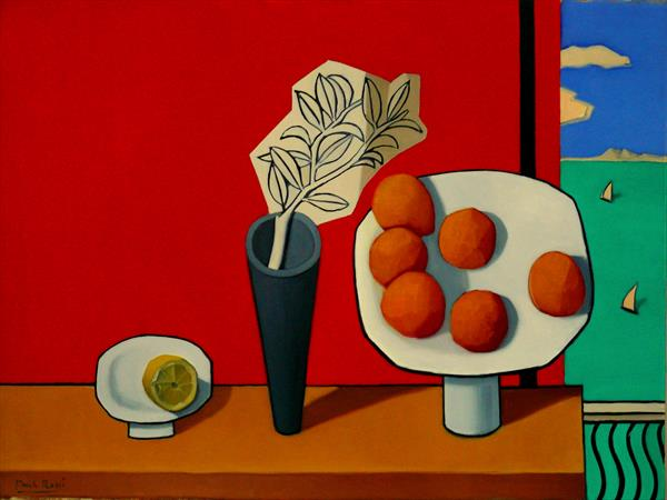 Still-Life In Red And Yellow With Sea-View by Paul Rossi