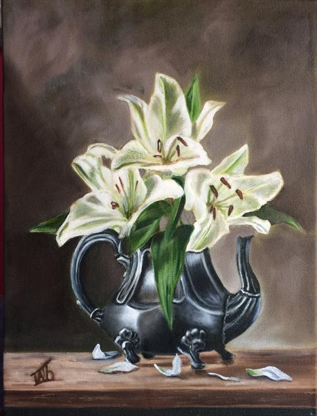 White lily in a jug