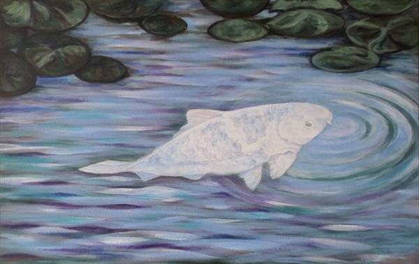 Tranquil Silver Koi by Sally Ann Barclay