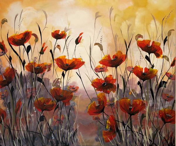 Red poppies on a large canvas by Marja Brown