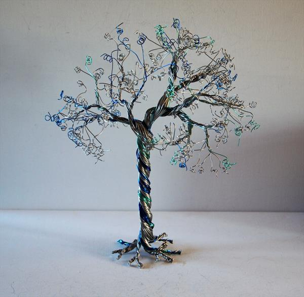 Silver & Blue, Wire, Tree Sculpture by Steph Morgan