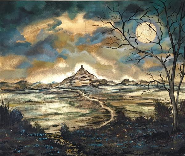 Glastonbury Tor under a full moon in gold leaf by Marja Brown