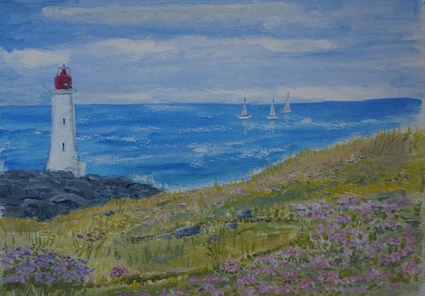 Lighthouse On The Cliffs by Janet Davies