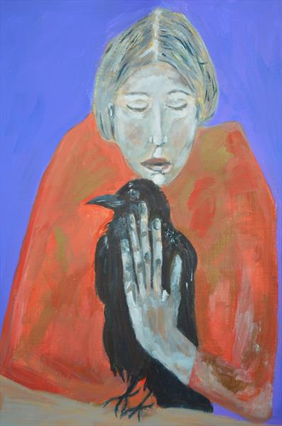 Woman With A Crow by Jane Hinchliffe