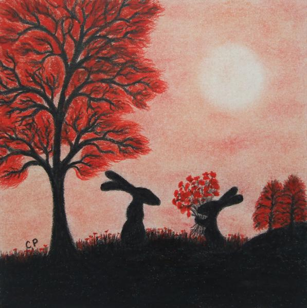 Rabbits Silhouette 2 (Framed)