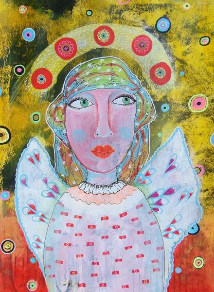 Angel In Flowered Scarf by Bea Roberts