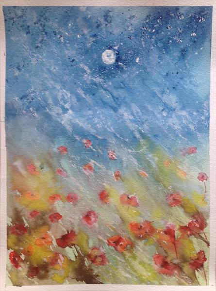Poppies in the Moonlight by Tina Hiles