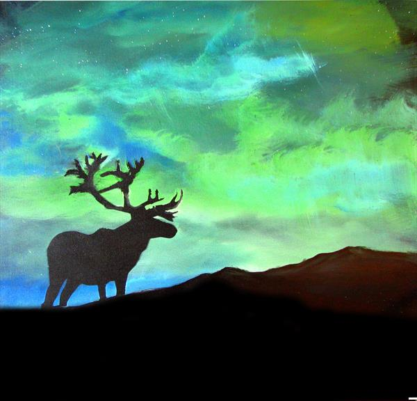 Buck in the Northern lights print by John Morris