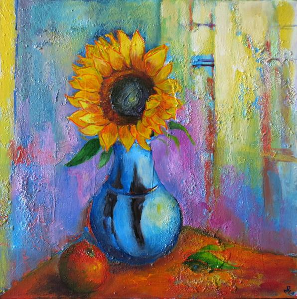 Sunflower and Blue Vase by Maureen Greenwood