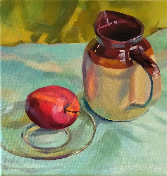 Red Apple and Jar by Svetlana Gavrisheva