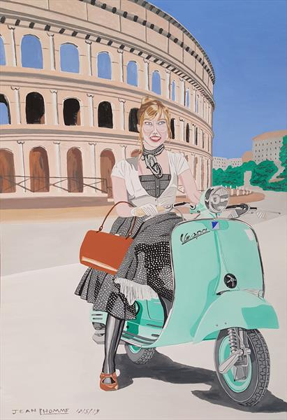 1950s woman on a Vespa in Rome by Jean L'Homme
