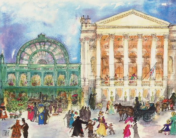 Arriving at The ROYAL OPERA HOUSE and FLORAL HALL, Covent Garden, London c.1890   by Patricia Edith Mary Thompson