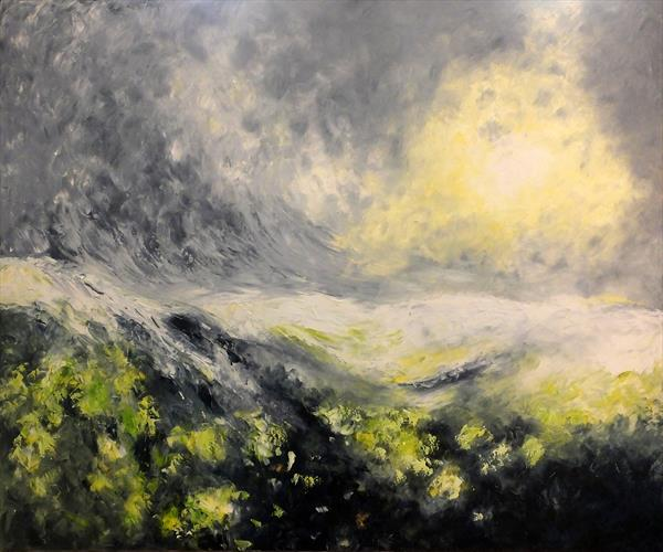 Sunlit Valley (Large Panoramic) by Hester Coetzee
