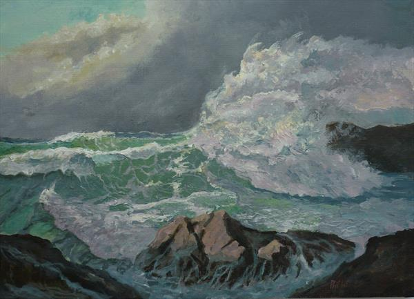 Rough sea at Lands End  by Phil Willetts
