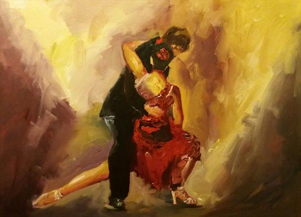 Latin Flame- A loosely painted tango dance painting by Marjory Sime by Marjory Sime