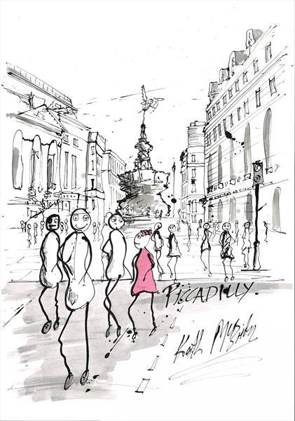 Stickpeople at Piccadilly   by Keith Mcbride
