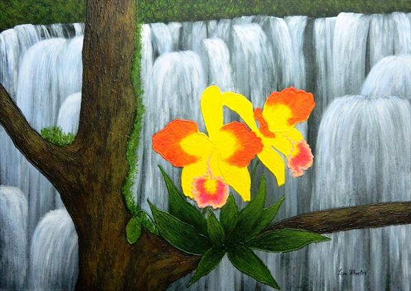 Voice In The Mist - yellow orchid floral painting by Liza Wheeler