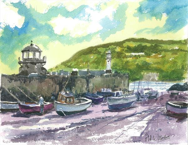 Smeaton's Pier St Ives water colour by Phil Willetts