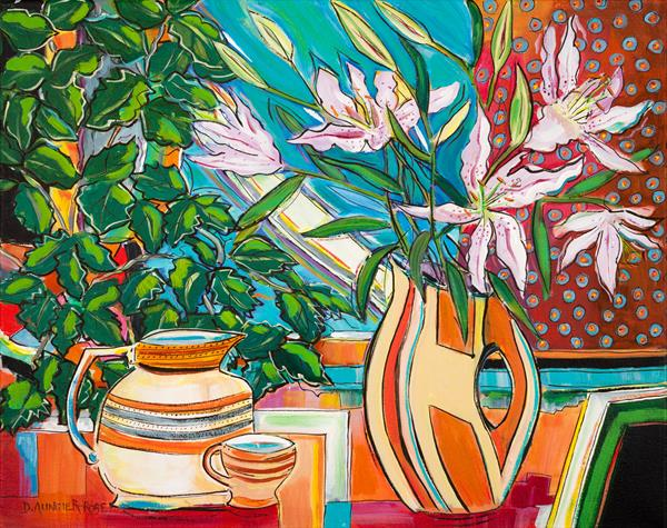 STILL LIFE WITH LILIES, VASE AND JUG by Diana Aungier - Rose