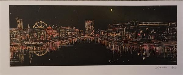 Bristol Harbouside at night (Limited Edition print by John Curtis