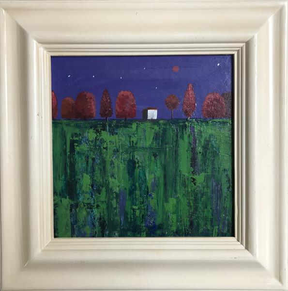 The Red Trees ( framed original oil painting) by Sarah Gill
