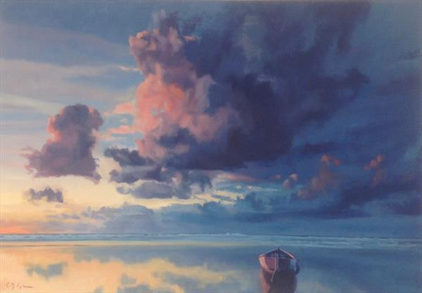 Winter Clouds ( original oil on box canvas ) by Christopher Gill