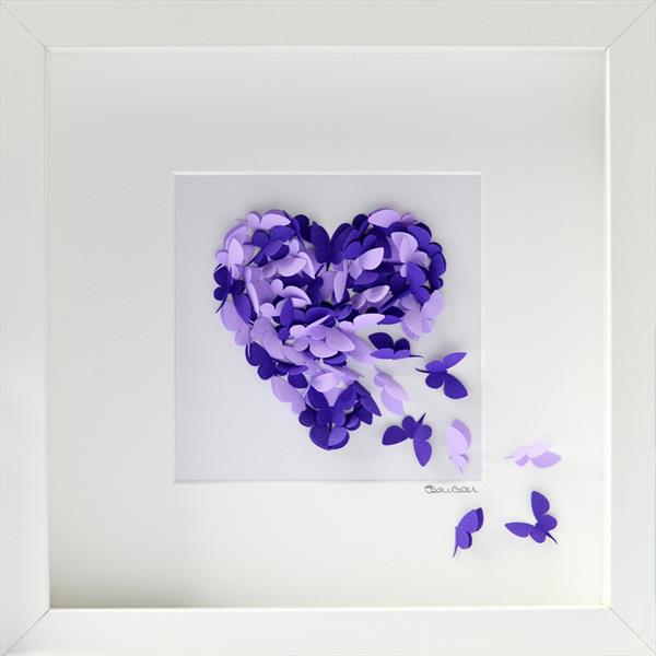 Two Tone Lilac Butterfly Heart Picture by Sara Lawson