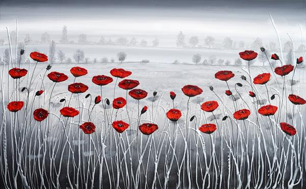 Misty Meadow of Poppies - RESERVED commission by Amanda Dagg