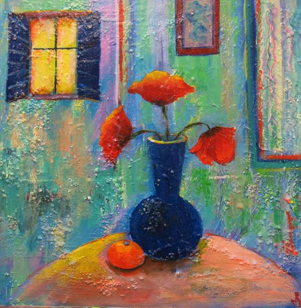 Interior and Poppies by Maureen Greenwood