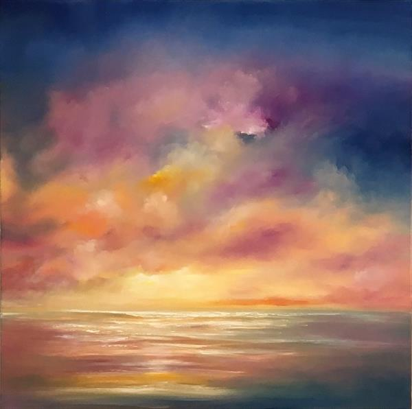 When the Night Falls; large square deep canvas by Nella Alao
