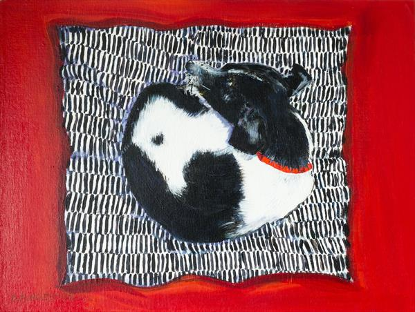 SMALL DOG OR LARGE CUSHION? by Diana Aungier - Rose