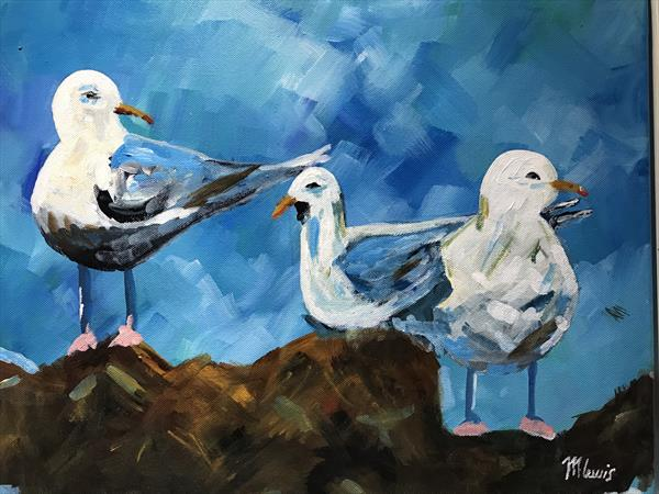 Sea gulls on the rocks by mark lewis