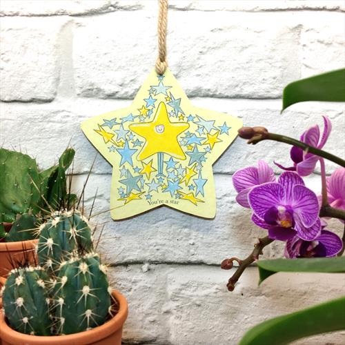 You're a star glossy vinyl print wooden start shaped plaque by Lisa-Marie Davies