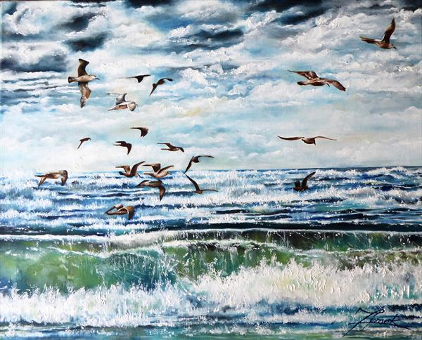 Gulls with Brighton by Joanna Dymek