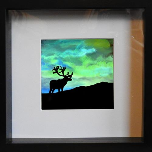 Buck in the northern lights - Mini Print  by John Morris