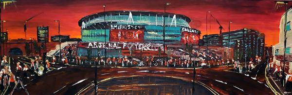 Arsenal Football Club By Night by Andrew Alan Matthews