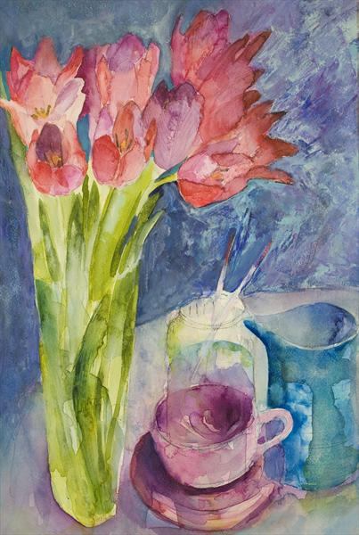 Arched Tulips by Caroline Kaye