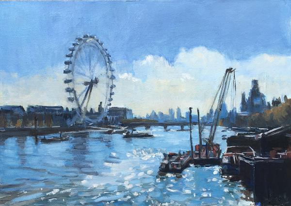 Sunlight on the Thames, London by Louise Gillard