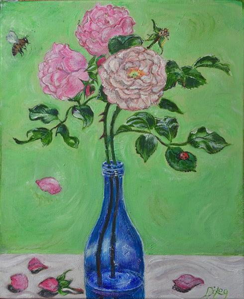 Roses in a Blue Bottle by Kiara Dixey