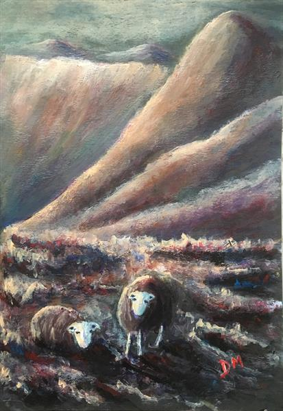 Two herdwicks and pike o stickle  by Damion  Maxwell