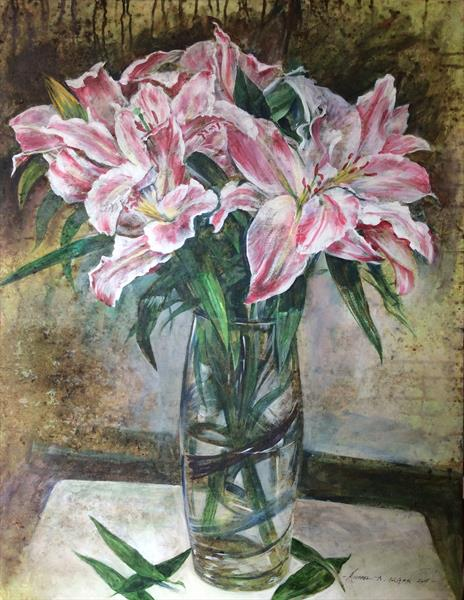 Lilies in the Banded Vase