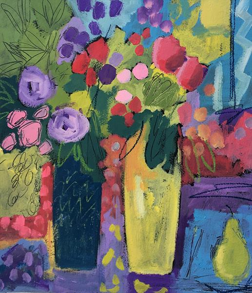 Two Vases of Summer Flowers II by Jan Rippingham