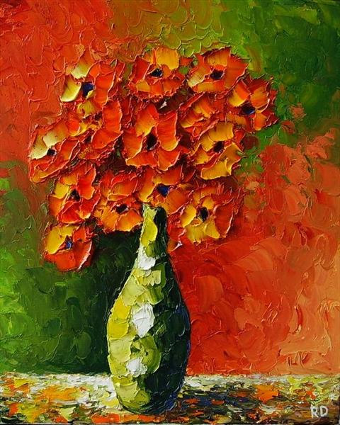 Orange and Green (On Display at The Art Gallery, Tetbury) by Rumen Dragiev